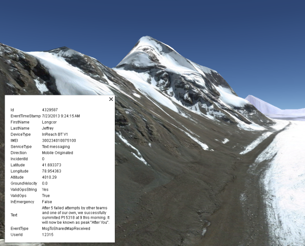 Google Earth rendering of Point 5318 with Take It To The Top team message